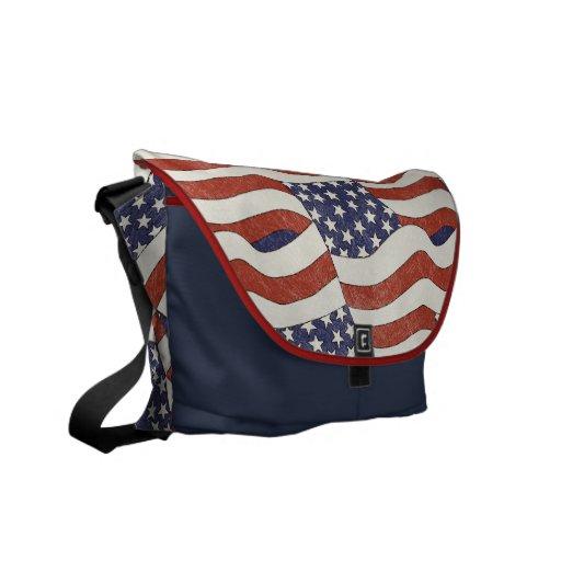 Sac messenger à motif de drapeau américain besaces