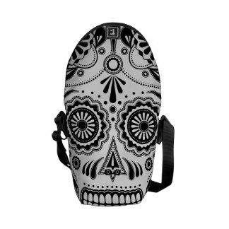 Sac messenger aztèque urbain à noir d'art de crâne besaces