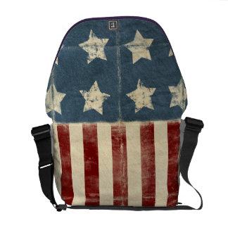 Sac messenger vintage à drapeau américain sacoche