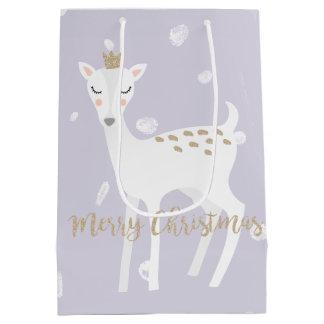 Sac mignon de cadeau de Noël du lilas | des cerfs
