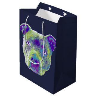 Sac moyen de cadeau de Pitbull de chien bleu de