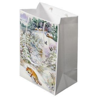 Sac moyen de cadeau de scène d'hiver d'aquarelle