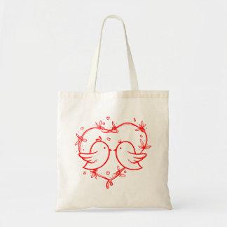 Sac Perruches rouges de coeur - mariage, douche