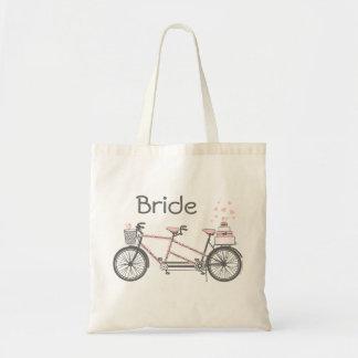 Sac personnalisé par mariage tandem de bicyclette
