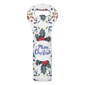 Sac Pour Bouteilles De Vin Baies rouges et bleues de Joyeux Noël de houx