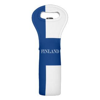 Sac Pour Bouteilles De Vin Drapeau de la Finlande Suomi croisé bleu