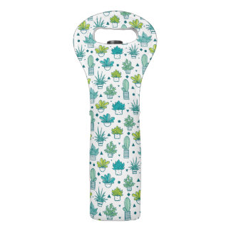 Sac Pour Bouteilles De Vin Motif succulent d'aquarelle verte et bleue
