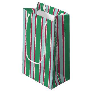 Sac rayé de cadeau de Noël vert-bleu classique