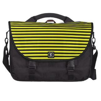 Sac rayé jaune noir d'ordinateur portable de sac pour ordinateurs portables
