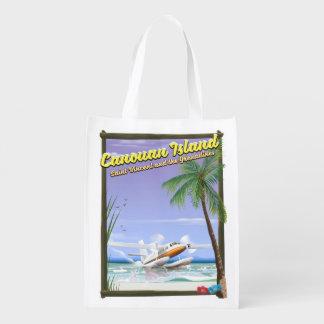 Sac Réutilisable Affiche de paradis des Caraïbe, îles de Canouan