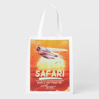 Sac Réutilisable Affiche vintage d'aventure de safari