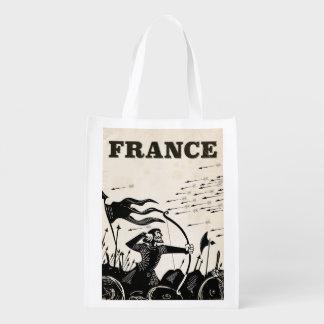 Sac Réutilisable Affiche vintage de voyage de la France. voiture
