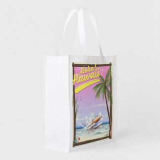 Sac Réutilisable Aloha ! Affiche vintage de voyage de style d'Hawaï