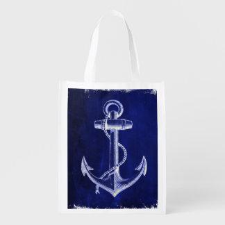 Sac Réutilisable ancre nautique chic côtière de bleu marine de