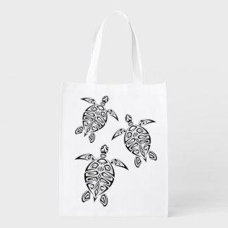 Sac Réutilisable Animal tribal de Tatoo de tortues