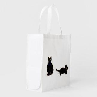 Sac Réutilisable Art mignon de chats noirs