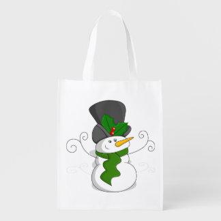 Sac Réutilisable Bande dessinée de fête de bonhomme de neige de