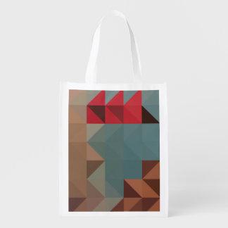 Sac Réutilisable Bleu des motifs | et triangles rouges géométriques