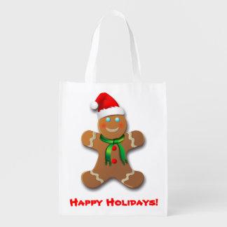Sac Réutilisable Bonhomme en pain d'épice avec le casquette de Noël