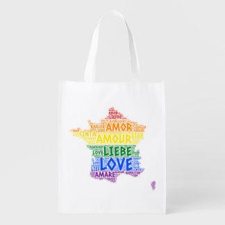 Sac Réutilisable Carte de la France d'arc-en-ciel de LGBT illustrée