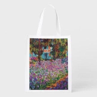 Sac Réutilisable Claude Monet - iris en beaux-arts du jardin de