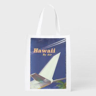 Sac Réutilisable Copie vintage de vacances de vol d'Hawaï