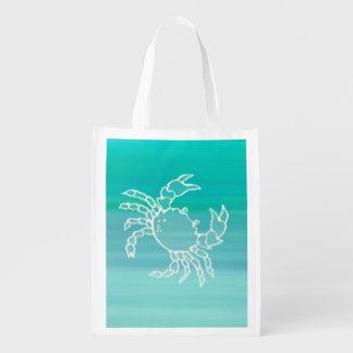 Sac Réutilisable Crabe dans l'océan coloré par aigue-marine