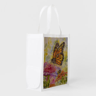Sac réutilisable d'art d'aquarelle de papillon de