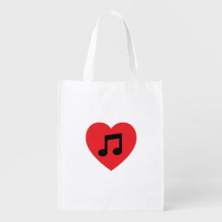 Sac réutilisable de coeur de note de musique sacs d'épicerie