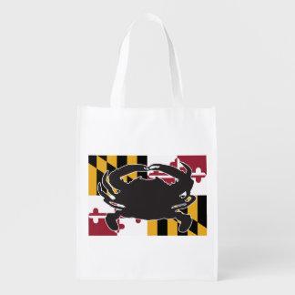 Sac réutilisable de drapeau/crabe du Maryland