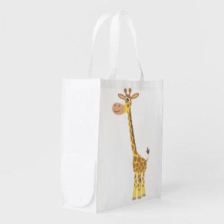 Sac réutilisable de girafe mignonne de bande cabas épicerie