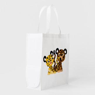 Sac réutilisable de jaguars coquets mignons de sac réutilisable d'épcierie