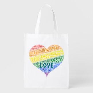 Sac Réutilisable Drapeau de foyer d'arc-en-ciel de LGBT illustré