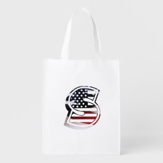 Sac Réutilisable Drapeau patriotique des Etats-Unis d'initiale de