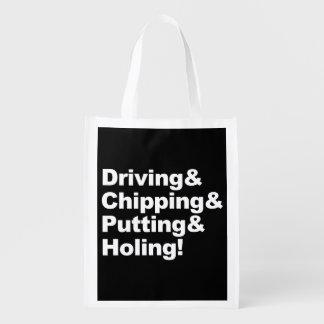 Sac Réutilisable Driving&Chipping&Putting&Holing (blanc)