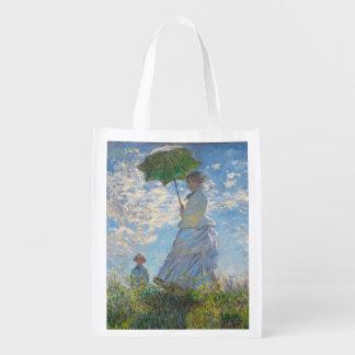 Sac Réutilisable Femme de Claude Monet   avec un parasol