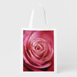 Sac Réutilisable Fleur de rose de rose avec la texture grunge