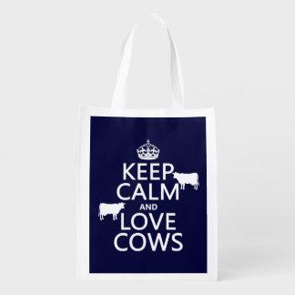 Sac Réutilisable Gardez le calme et aimez les vaches (toutes les