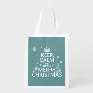 Sac Réutilisable Gardez le calme et ayez un Joyeux Noël