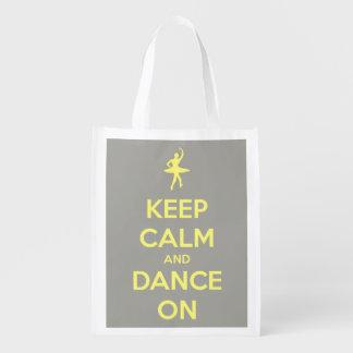 Sac Réutilisable Gardez le calme et dansez sur le jaune sur le gris