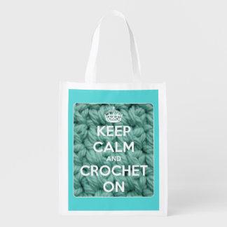 Sac Réutilisable Gardez le calme et faites du crochet sur bleu et