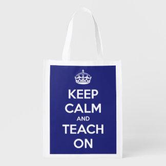 Sac Réutilisable Gardez le calme et l'enseignez sur le sac bleu