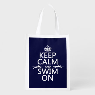 Sac Réutilisable Gardez le calme et nagez sur (dans toute couleur)