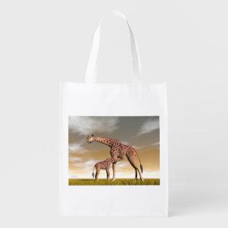 Sac Réutilisable Girafe de maman et de bébé - 3D rendent