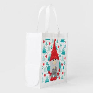 Sac Réutilisable Gnome de vacances avec des cadeaux