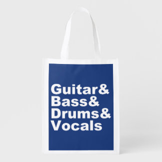 Sac Réutilisable Guitar&Bass&Drums&Vocals (blanc)