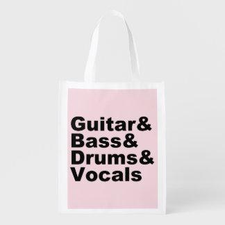 Sac Réutilisable Guitar&Bass&Drums&Vocals (noir)