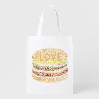 Sac Réutilisable Hamburger illustré avec le mot d'amour