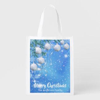 Sac Réutilisable Hiver de Noël avec les ornements et les étoiles