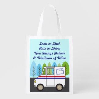 Sac Réutilisable Homme postal de courrier de camion de courrier
